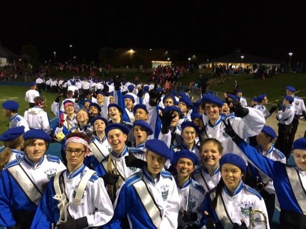 Varsity Marching Band before a halftime show (Courtesy of @EaganHSBands)