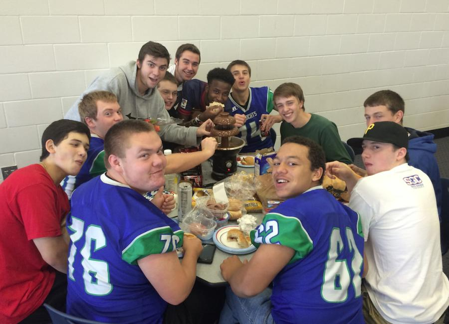 Senior boys with their chocolate fountain at lunch.