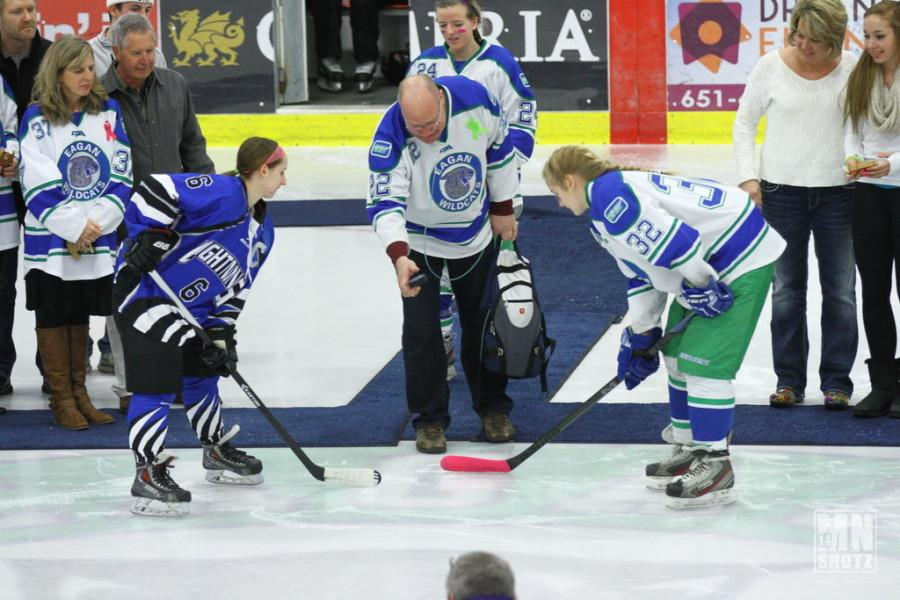 Steve Plashko drops the puck at the Stick it to Cancer hockey game.