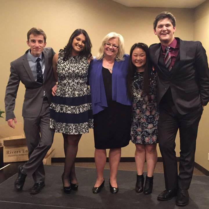 Ms. Anker with new speech captains (shown left to right) Daniel Reynolds, Aekta Mouli, Sarah Gong and Jackson Cobb.