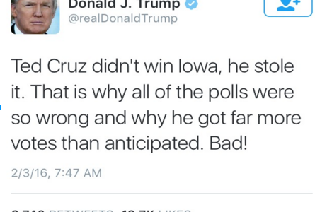 Trump Calls for Do-Over in Iowa After Defeat