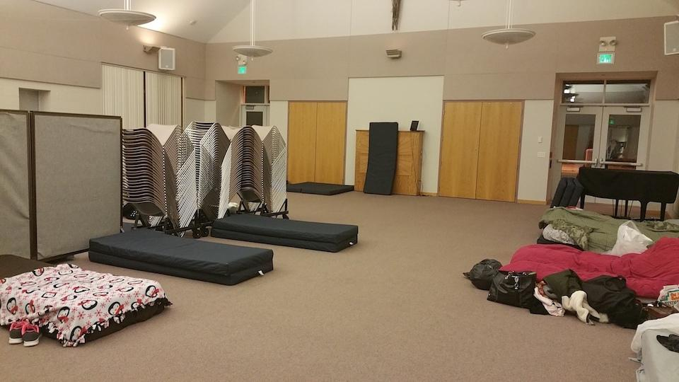 The sleeping area at Easter Lutheran Church