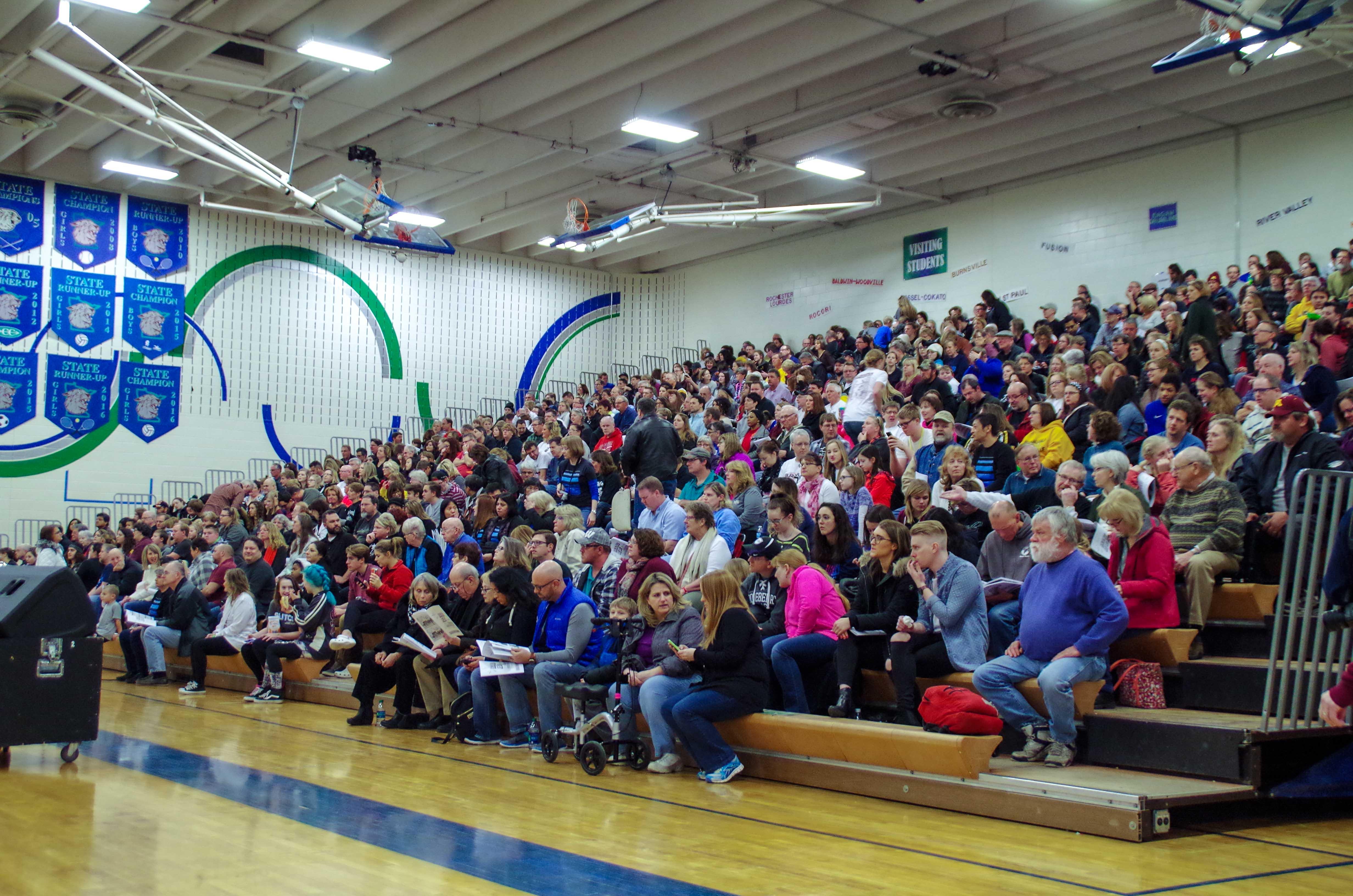 half od crowd