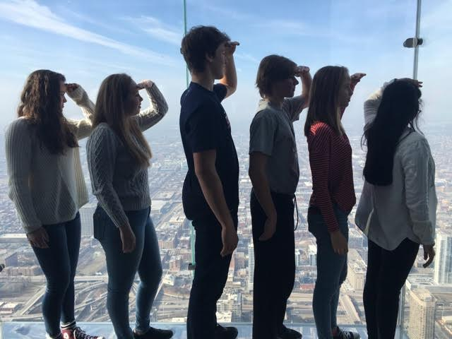 Band students pose for a picture in Chicago's Willis Tower. Photo courtesy of Yazhini Solayappan.
