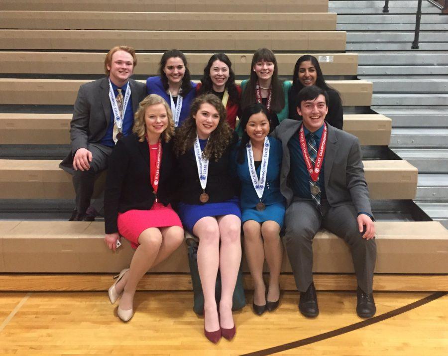 Angela Hugunin, Emily Albert-Stauning, Tram Nguyen, Jonathan David, Josh Drucker, Jenna Herbrand, Brianna Sexton, Elsie Goren, and Atulya Reddy were this year's state speech finalists.