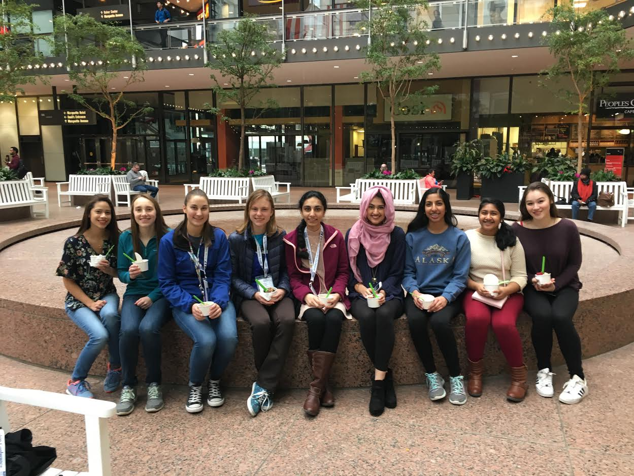 From left to right: Olivia Crutchfield, Lauren Markowski, Kayla Monson, Theresa Passe, Mariam Tahir, Sana Jafferi, Atulya Reddy, Aishu Mankala, Lauren Moy