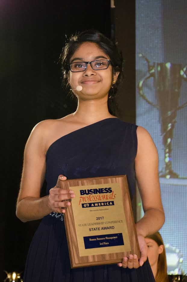 Subha Ravichandran won third place in human resource management, qualifying for nationals.