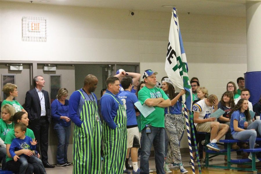Students and faculty wait for the Pepfest to begin.