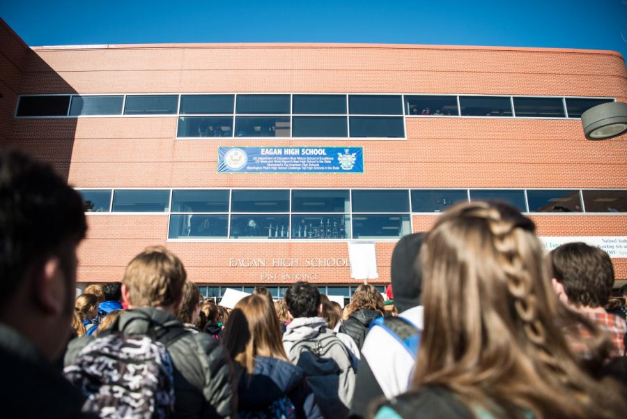 Eagan+students+stand+outside+the+east+entrance+to+protest+gun+violence.+