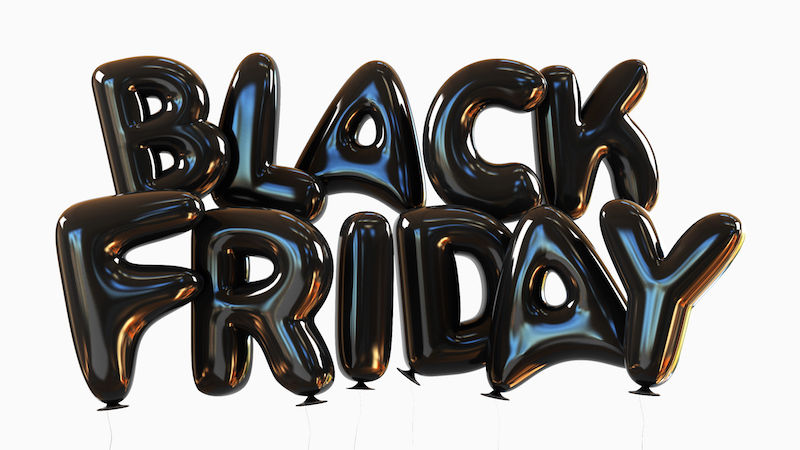 Black+Friday+Made+Of+Black+Helium+Balloons.+sale+concept.+3d+rendering+illustration